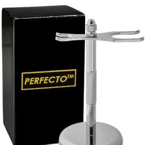 Perfecto Deluxe Chrome Razor and Brush Stand