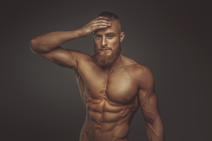Muscular bearded man.