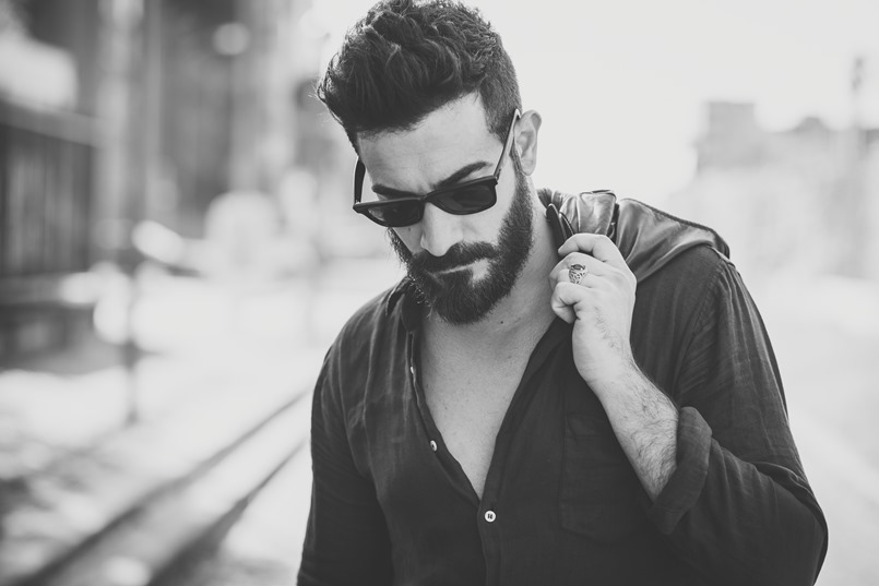 young handsome attractive bearded model man